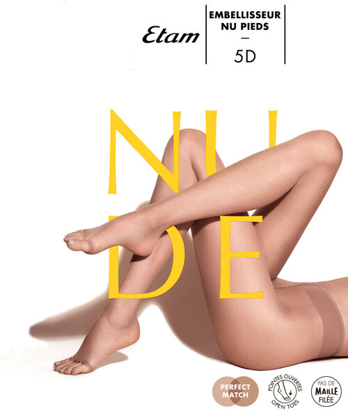 Collants voile effet jambes nues, bout ouvert