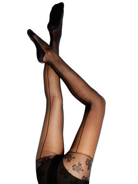 Collants sculptants ventre plat 15d, couture dos noir.