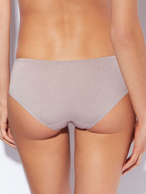 Shorty microvezel gespikkeld tricot taupe.