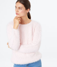 Pull doux col rond rose.