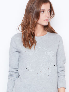 Sweat col rond gris chiné.