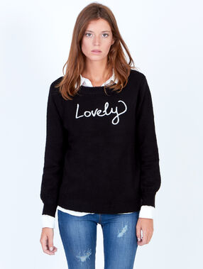 "Pull en maille, inscription ""lovely"" noir."