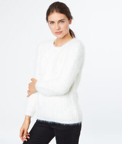 Pull doux col rond blanc.