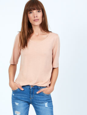 T-shirt 3/4 mouwen in viscose rose poudre.
