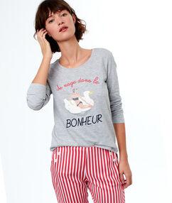 T-shirt met tekst grijs.