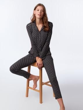 Pantalon met hartjes- en sterrenmotief grijs.