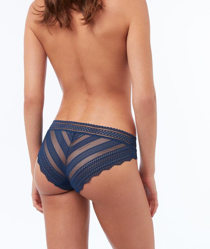 Culotte bi-matière élastique bleu.