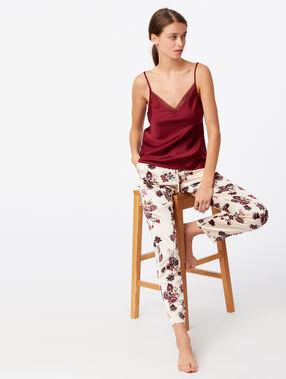 Pantalon large imprimé floral ecru.