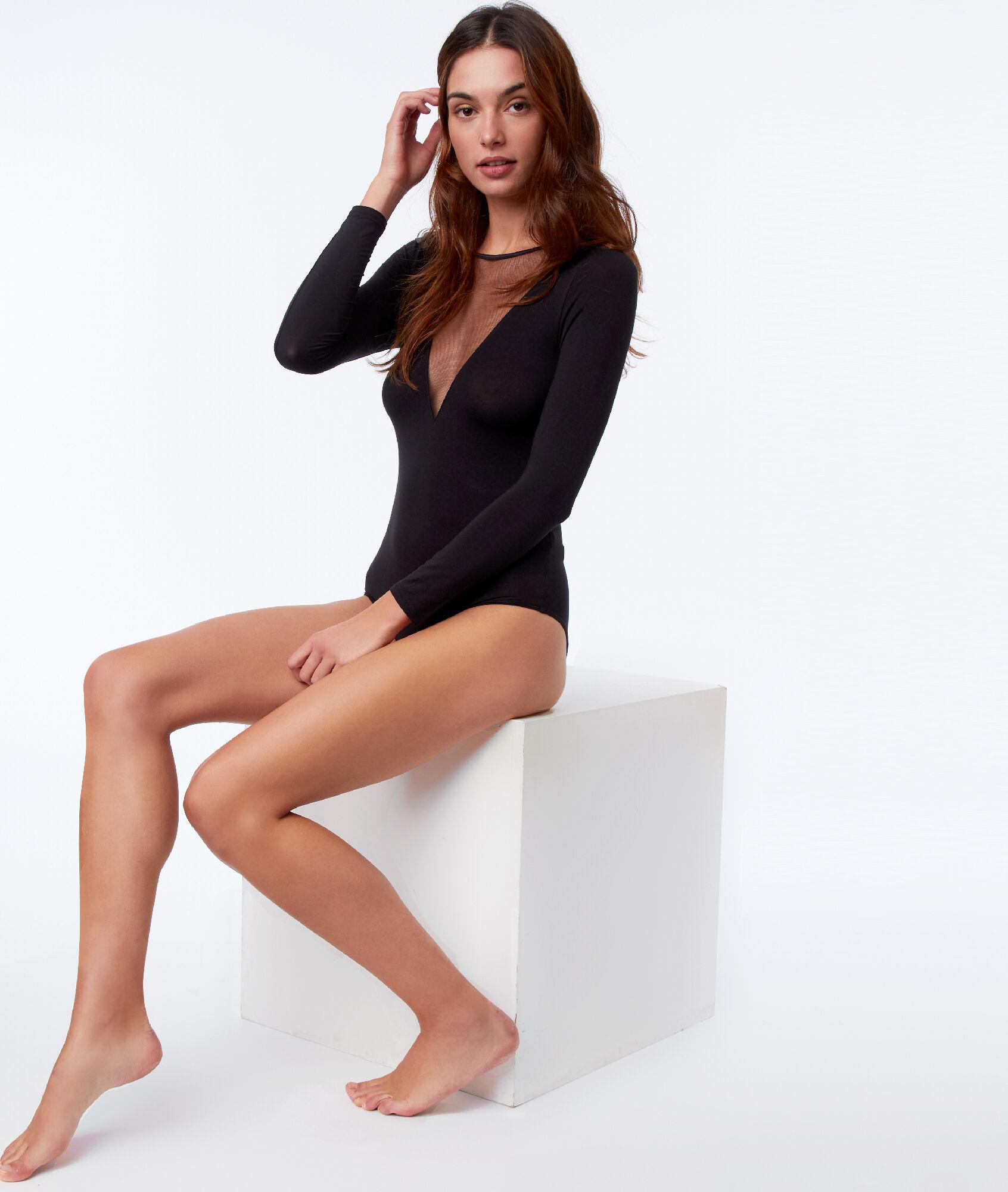 Body manches longues col transparent - WARM ME UP - NOIR - Etam 527b4c506e7