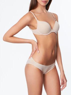 Slip microvezel - nauw aansluitende afwerking beige/ peau.