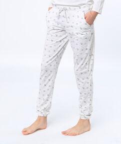 Pantalon imprimé panda licorne blanc.