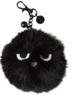 Porte-clefs en imitation fourrure noir.