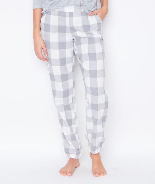 Pyjama 3 pièces, haut imprimé, bas à carreaux
