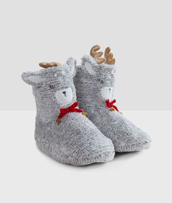 Chaussons bottines 3d gris.