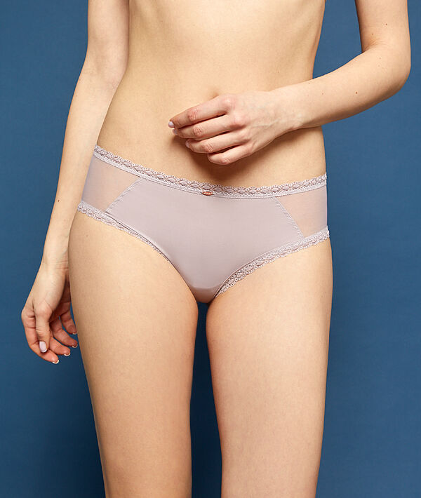 Shorty en dentelle et microfibre;${refinementColor}