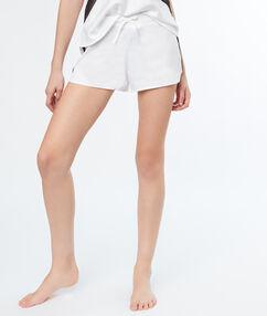 Short satin bande dentelle contrastée blanc.