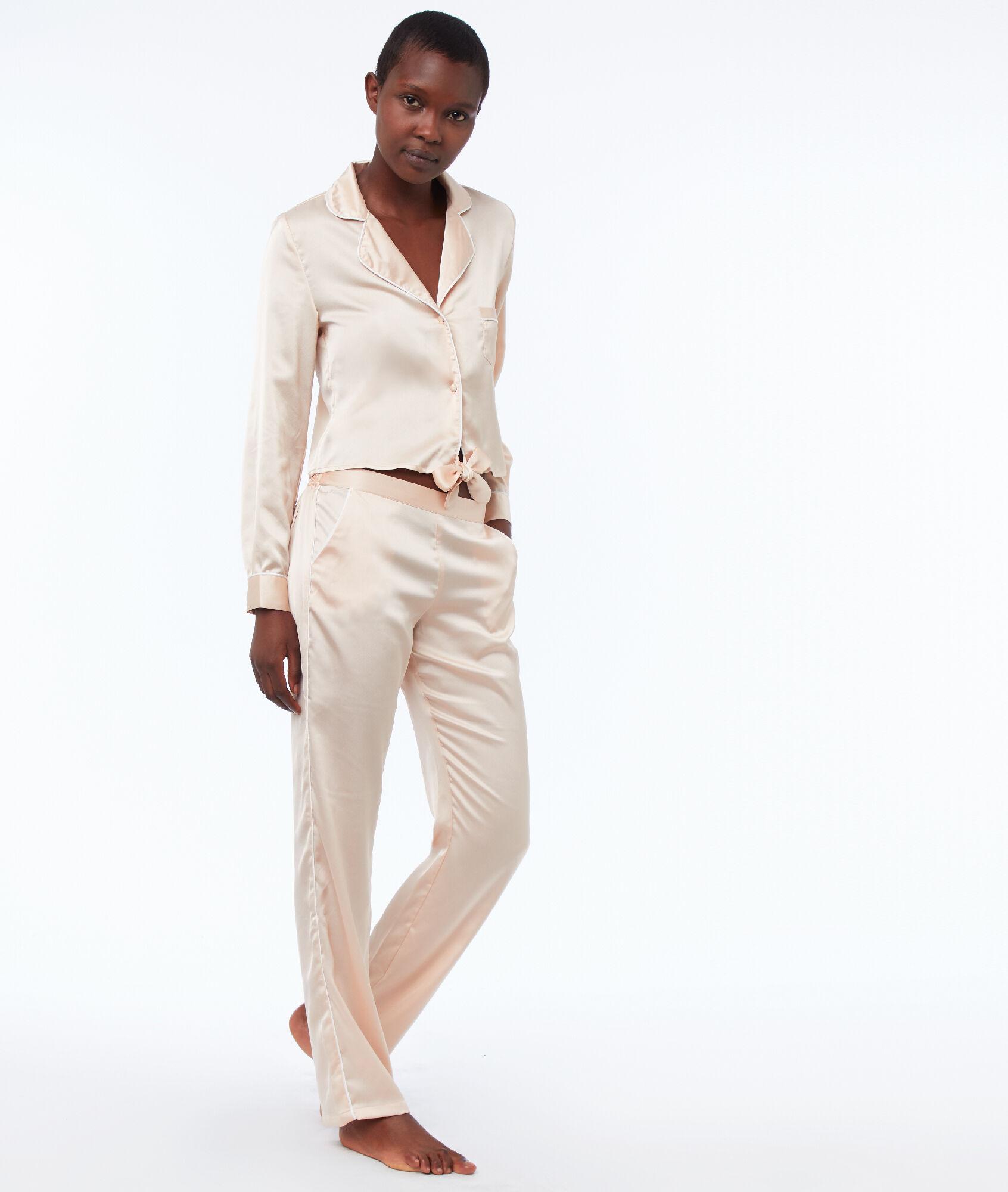 0c3d070ab996b Chemise de pyjama courte à nouer - MAUD - ROSE POUDRE - Etam