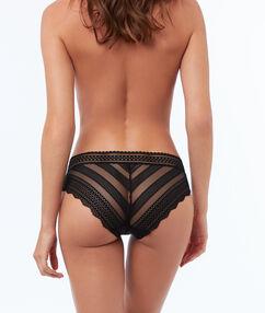 Culotte bi-matière élastique noir.