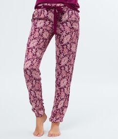 Pantalon imprimé bordeaux.