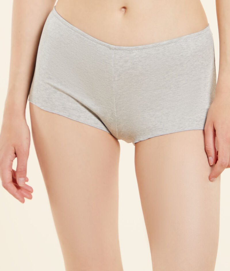 Ribgebreide boyleg shorts, plantaardige kleurstof;${refinementColor}