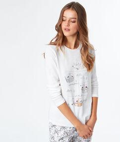 T-shirt imprimé pingouins blanc.