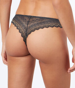 Tanga en dentelle brillant gris/or.