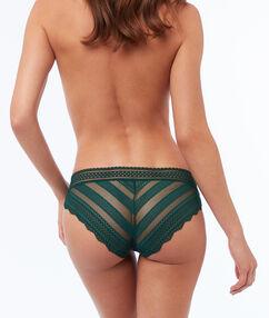 Culotte bi-matière élastique vert.