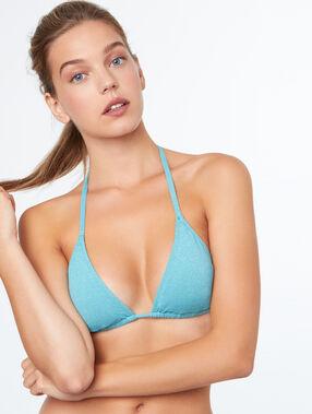 Haut de maillot de bain triangle sans armature bleu lagon.