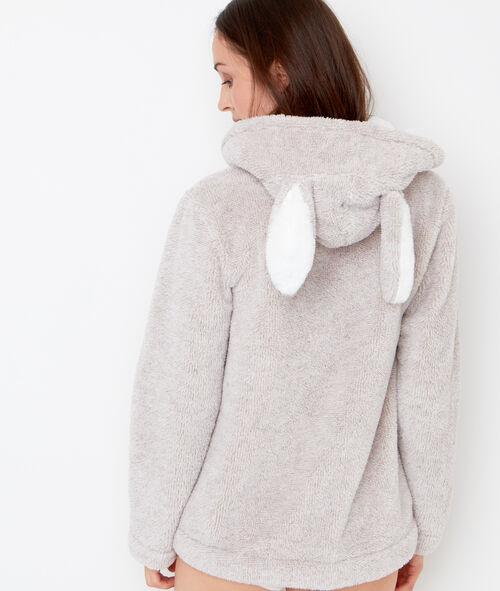 Veste doudou, oreilles de lapin 3D