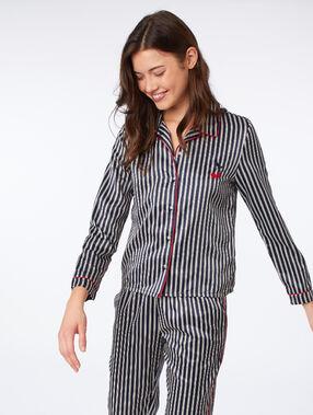 Chemise de pyjama satinée à rayures bleu nuit.