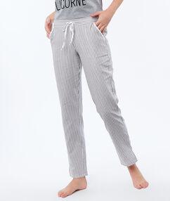 Pantalon à rayures ecru.