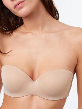 Strapless microvezel push up, afneembare schouderbandjes  beige/ peau.