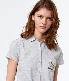 Chemise de pyjama d'homme imprimé à nouer gris.
