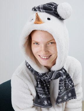 Combinaison pyjama bonhomme de neige ecru.