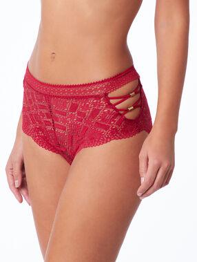 Culotte taille haute, laçages rouge.