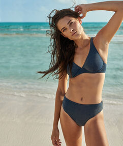 Bas de bikini simple - multiposition bleu nuit/fibres metalisees.
