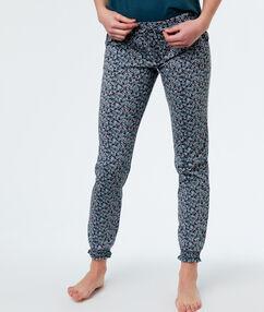 Pantalon met print bloemen blauw.