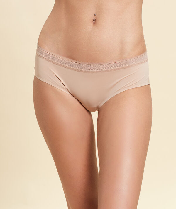 Shorty en microfibre bords dentelle;${refinementColor}