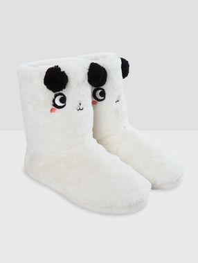 Chaussons bottines fourrées panda ecru.