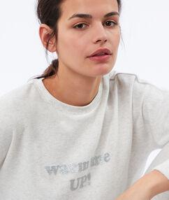 Sweatshirt grijs gespikkeld zacht en warm met tekst ecru.