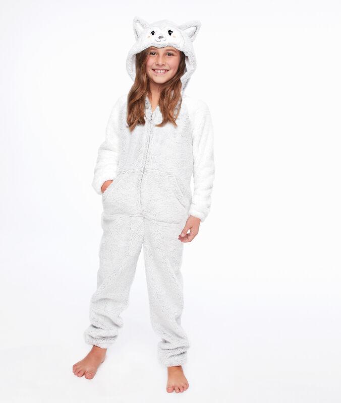 Combinaison pyjama enfant chien gris clair.