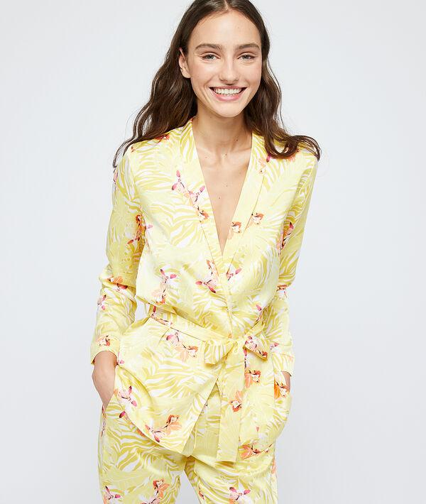 Pyjamahemd gesatineerd met riem in gerecycled polyester;${refinementColor}