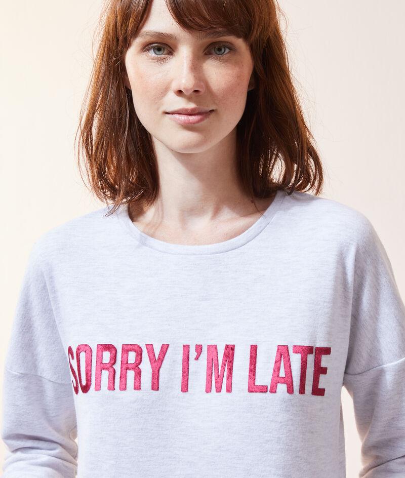 """Chemise de nuit """"Sorry i'm late"""";${refinementColor}"""