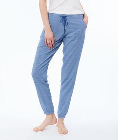 Pantalon met print blauw.
