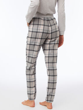 Pantalon à carreaux gris.