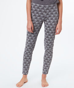 Pantalon leggings imprimé ananas gris.