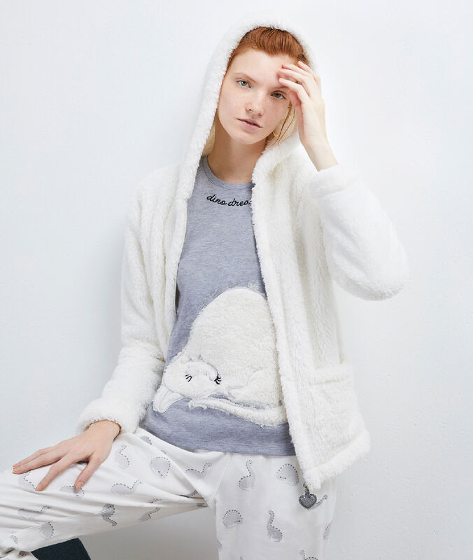 Pyjama 3 stukken knuffelzacht vest wit.