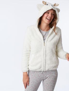 Veste de pyjama cerf en fausse fourrure ecru.
