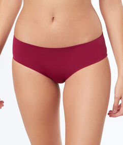 Shorty microfibre et triangle en dentelle bordeaux grenat.