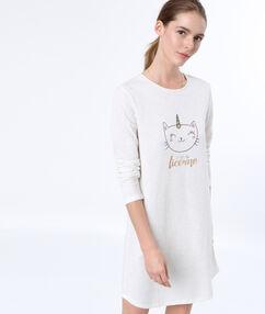 Nuisette imprimé chat licorne white.